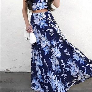 Lulus Love for Lanai Navy Floral Print Maxi Skirt